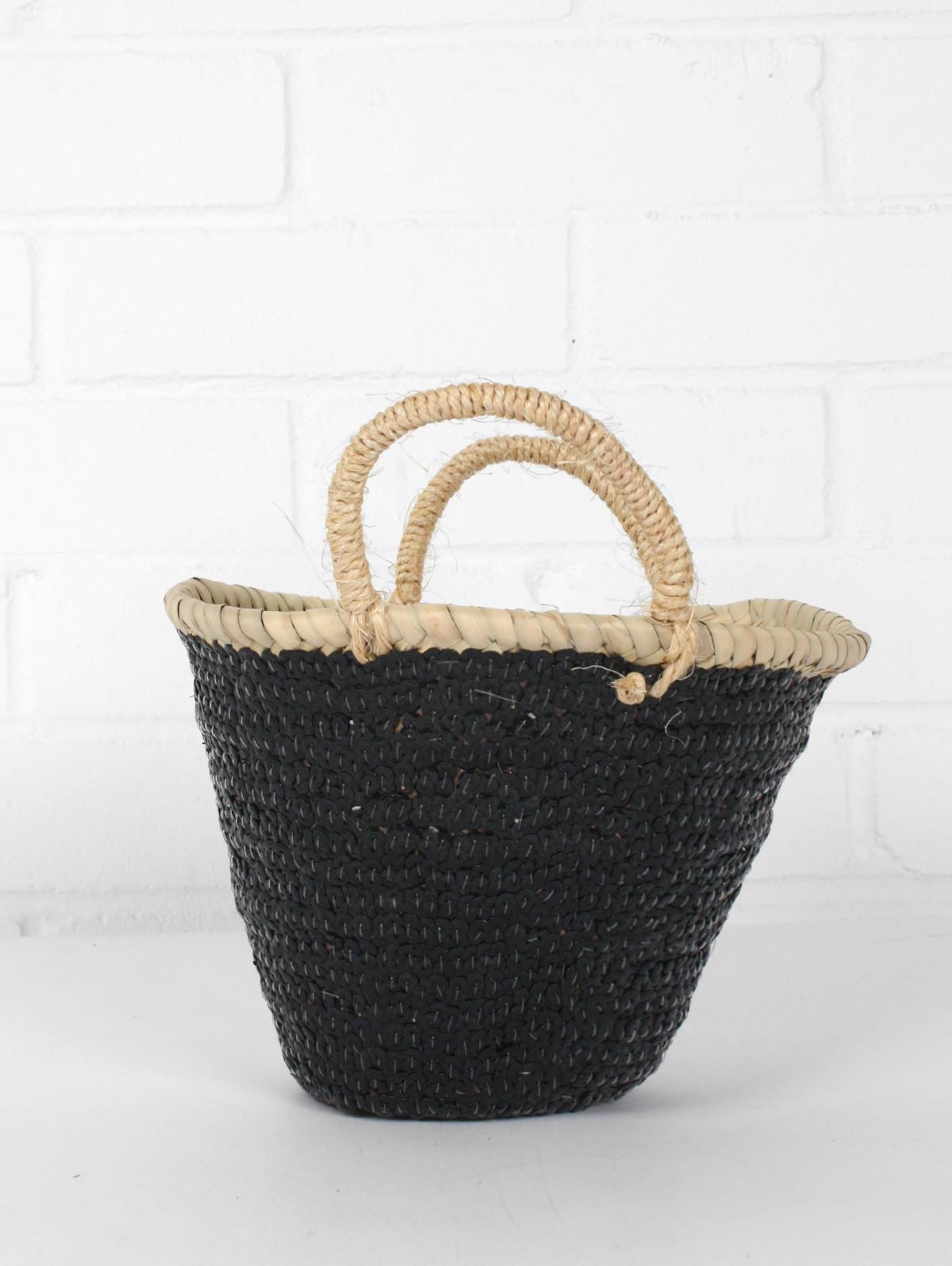 petit panier en osier et sequins noir kalyana. Black Bedroom Furniture Sets. Home Design Ideas